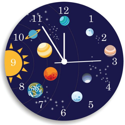 The Solar System Wall Clock, Kids Bedroom Wall Clock, Space Room