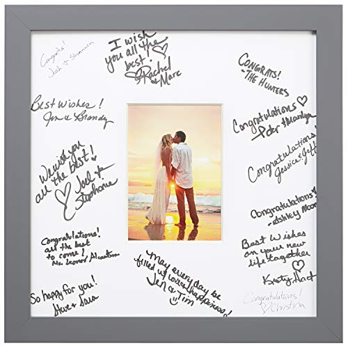 Craig Frames 14 x 14 Wedding Signature Picture Frame Matted to Display a 5 x 7 Inch Photo, Satin Grey