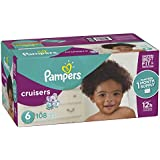 Pampers Cruisers Disposable Baby Diapers Size 6, 108 Count, ONE MONTH SUPPLY