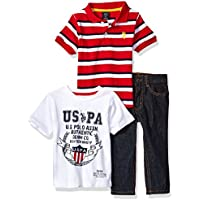 U.S. Polo Assn. Boys' Polo Shirt, T-Shirt and Pant Set