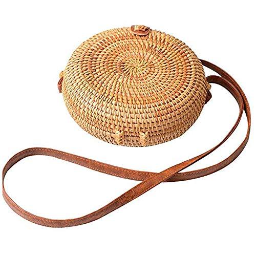 Olyphy Round Straw Shoulder Bag for Women, Weave Crossbody Bag Top Handle Handbag Summer Beach Purse (circle) - Circle Handle