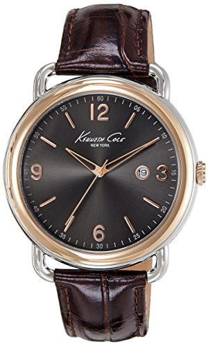Kenneth Cole New York Men's KC1956 Modern Core Grey Dial Rose Gold Bezel Brown Strap Watch