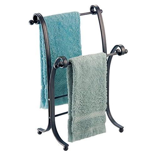 mDesign Metal Towel Holder Stand for Bathroom Vanities - Bronze free shipping