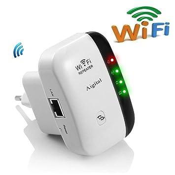 Aigital Repetidor de Red WiFi Amplificador de Cobertura 300Mbps/ 2.4GHz Extensor Inalámbrico señal Booster