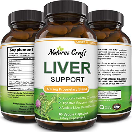 Natures Craft's Natural Liver Support Dietary Supplements Promote Liver Health & Weight Loss For Men & Women - Milk Thistle + Dandelion + Artichoke Complex - Detox Cleanse Vitamins Boost Metabolism