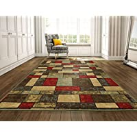 Ottomanson Ottohome Collection Contemporary Boxes Design Machine-Washable Non-Slip Area Rugs, 8'2'W x 9'10'L, Multicolor