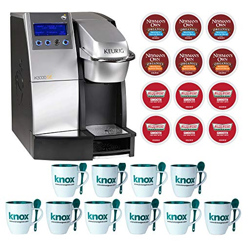 Keurig K 3000 SE Commercial Brewer Single Cup Office Brewing System, Silver|Black Includes 10 Mugs and 12 k-cups