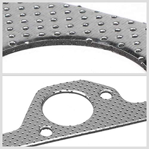 Aluminum Graphite, Steel Bolts//Studs, Silver Exhaust Gasket Works With 07-11 Jeep Wrangler JK 3.8L V6