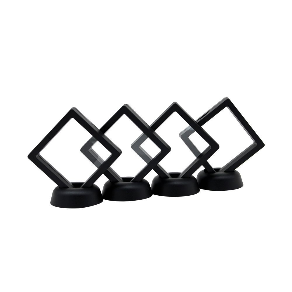 2087 AA Medallion Challenge Coin Chip Floating Display Stand Holder, Clear 3D PET Suspension Jewelry Showcase, Set of 4 (BLACK, 2.7 x 2.7)