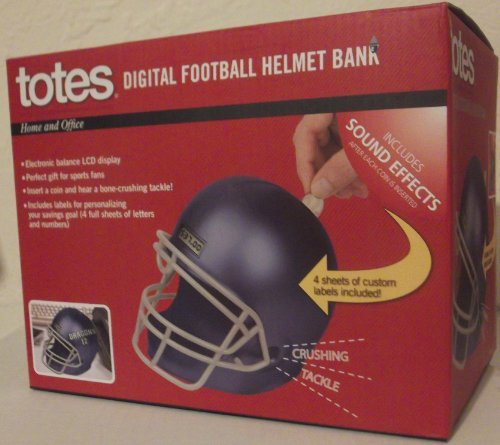 Digital Football Helmet Coin Bank By Totes (Blue)