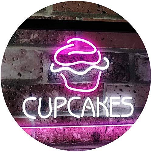 ADVPRO Cupcakes Kidroom Home Décor Dual Color LED Neon Sign White & Purple 16