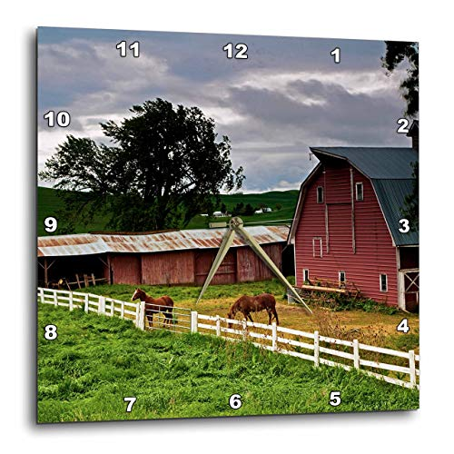3dRose DPP_95827_1 Barn, Farm Country, Palouse, Colfax, Washington-Us48 Jre0005-Joe Restuccia Iii-Wall Clock, 10 by 10-Inch (Covers Washington Wall)