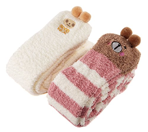 Brown Striped Fleece (LittleForBig Cute Animal Coral Fleece Thigh High Long Striped Socks 2 Pairs (Brown-White))