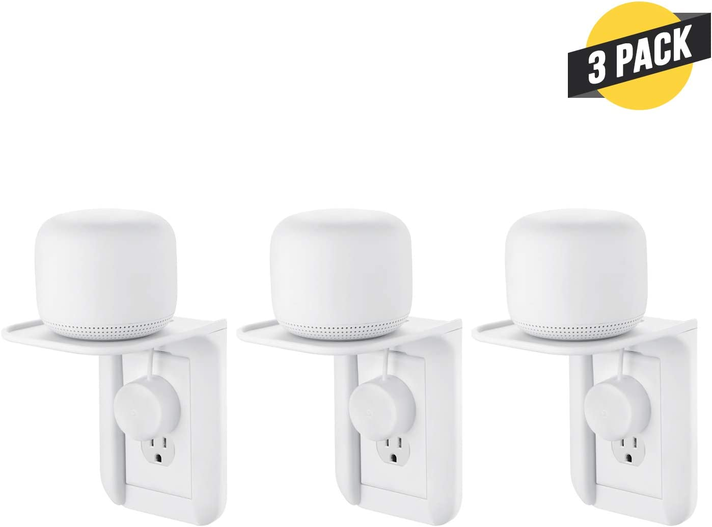 Wasserstein AC Outlet Mount for Google Nest WiFi - Perfect Wall Outlet Shelf for Google Home, Nest Mini & Nest Hub, Dot 1st, 2nd & 3rd Speaker, Sonos One, Smartphones and Other Electronics (3-Pack)