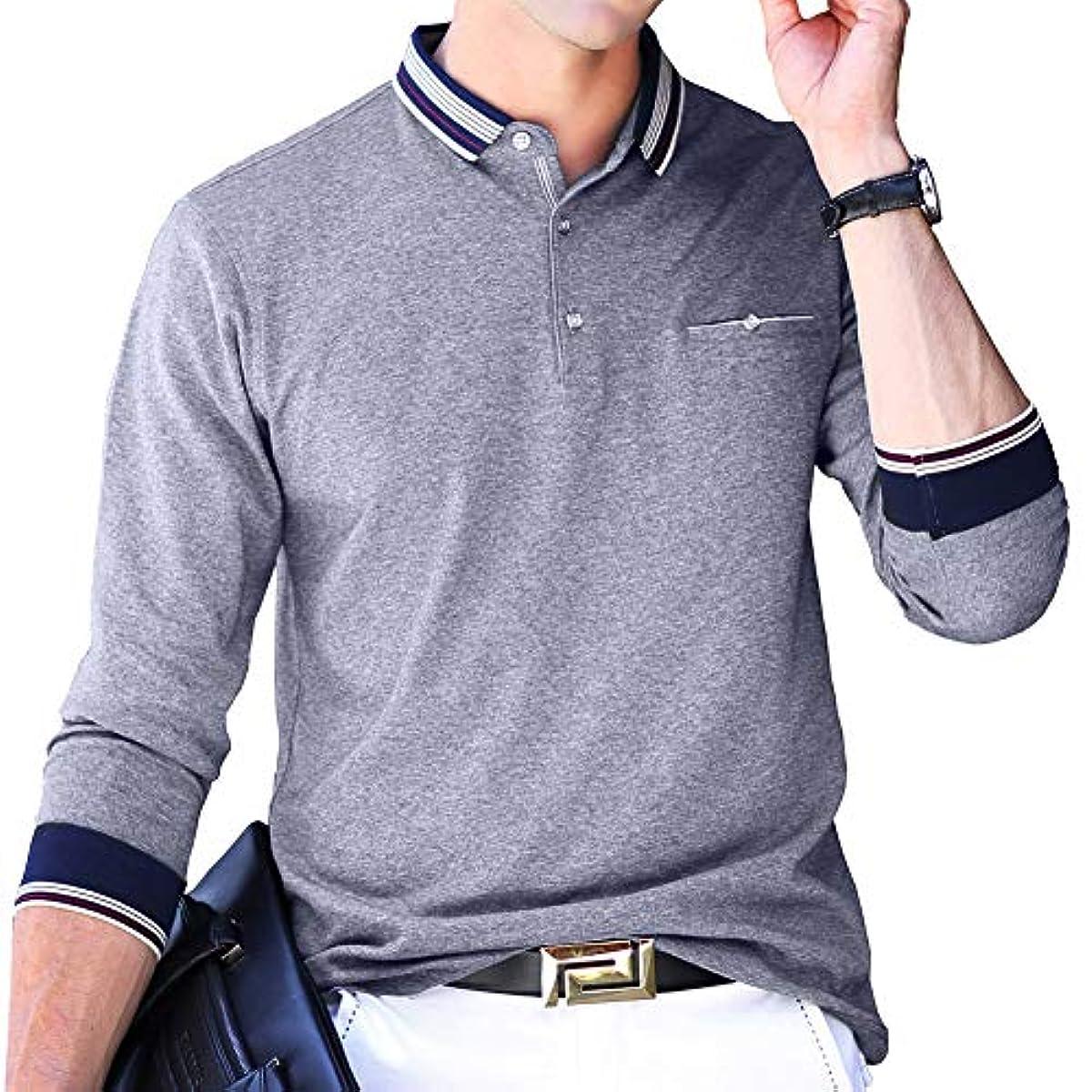 [해외] 폴로 셔츠 긴 소매 맨즈 골프 웨어 비지니스 스포츠 폴로 셔츠 남성 골프 폴로 셔츠 추동춘 7 색전개