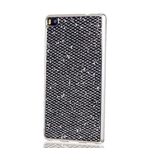 MUTOUREN Huawei P8 Lite (2017) case cover Flexible TPU Soft Silicone Bumper Case Cover Ultra Thin Slim Transparent bling glitter Protective case cover -rose