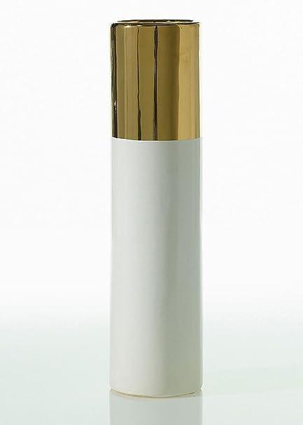 Amazon Klein Ceramic Cylinder Floral Vase In White And Metallic