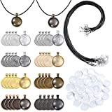 PP OPOUNT 95 Pieces 8 Different Colors 40Pieces Round Pendant Trays and 40Pieces Bright Glass Cabochon Dome Tiles with 15Pieces Black Waxed Necklace Cord for Photo Pendant Craft DIY Jewelry Making
