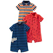 Simple Joys by Carter's Baby Boys' 3-Pack Rompers, Orange Blue Stripe/Navy Stripe/Red Anchors, 6-9 Months