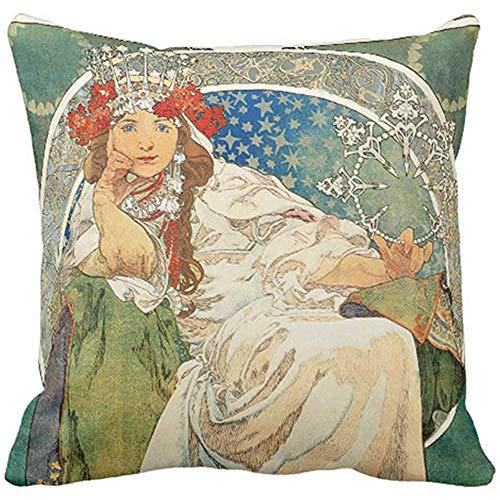 Alphonse Mucha Flowers - Throw Pillow Cover Flower Vintage Alphonse Mucha Princess France Decorative Pillow Case Home Decor Square 18 x 18 Inch Pillowcase