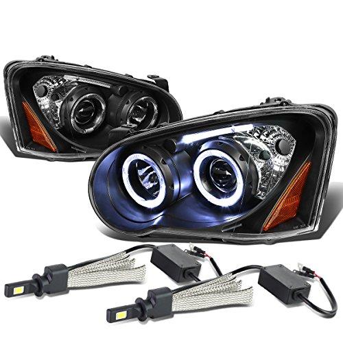 Impreza GD GG Angel Eyes Black Housing Amber Corner Dual Halo Projector Headlight + H3 LED Conversion Kit Halo Headlights Conversion