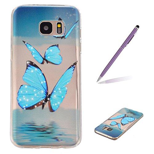 Trumpshop Smartphone Carcasa Funda Protección para Samsung Galaxy S7 Serie Transparente + Jardín de la Mariposa + Delgado Suave Flexibles TPU Silicona Caja Protectora Mariposa Azul