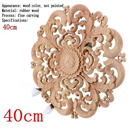 Nisson Decor Wooden - Carving Furniture Decoration Solid Door Round Flower Miniature Crafts Figurine