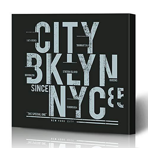 (Ahawoso Canvas Print Wall Art 16x16 Inch Black NYC New York Brooklyn Tee Lis Graphics Blue Sport Street Varsity America City Modern Artwork Printing Home Decor Wrapp Gallery Painting)