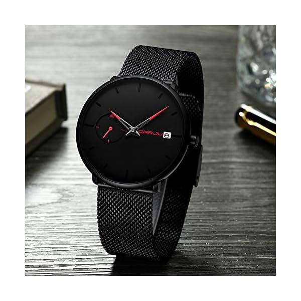 Montre Bracelet Homme Minimaliste à Quartz Analogique Date avec Bracelet en Maille Milanaise en Acier Inoxydable
