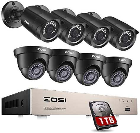 ZOSI 8CH Security Camera System Outdoor with 1TB Hard Drive,H.265 5MP Lite 8Channel CCTV Recorder and 8pcs 1080P HD 1920TVL Home Surveillance Bullet Dome Cameras, 80ft Night Vision, Remote Access