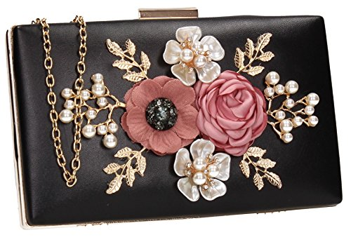 3d Bag Prom Clutch Ladies Floral Womens Leather Box Faux Valery SWANKYSWANS Wedding Black Party THqaq