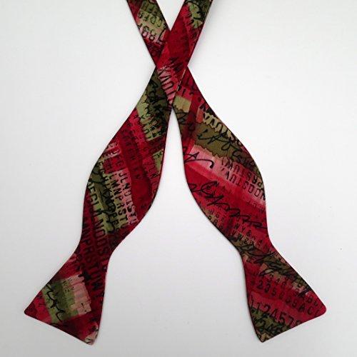100% Silk Hand-Painted Hand-Made Men's Self Tie Bow Tie ''Alphabet'' Art to Wear by Murphyties by Murphyties Inc.