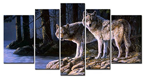 Fingertip Art Wall Art Paintings - 5 Pieces Decor Art of Two Wolves by Persis Clayton Weirs Painting - The pictures Print on Canvas for Modern Home Decor Decoration