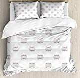 Baseball Duvet Cover Set Queen Size by Lunarable, Flat Design Balls Pattern American Culture Athletics Fun Game League Match, Decorative 3 Piece Bedding Set with 2 Pillow Shams, Pale Grey Ruby