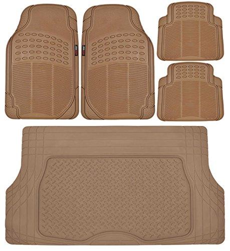 - Motor Trend Heavy Duty Beige All Season Odorless Rubber - 4 Piece Floor Mats w/ 1 Piece Trim to Fit Trunk Cargo Liner