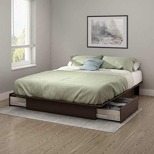 South Shore Step One Platform Bed with 2 Drawers, Full/Queen 60-Inch, Chocolate