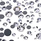 hot glue plate - WILLBOND 1000 Pieces Mixed Size Hot Fix Round Crystals Gems Glass Stones Hotfix Flat Back Rhinestones 1.5-6 MM (Clear Color)
