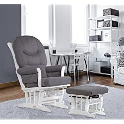 Dutailier Sleigh Glider-Multiposition, Recline and Ottoman Combo, White/Dark Grey
