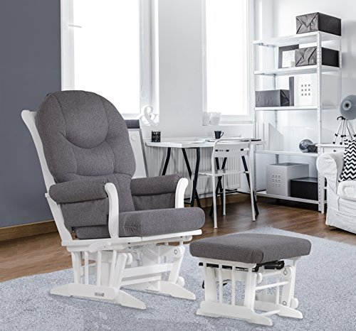 [Dutailier Sleigh Glider-Multiposition, Recline and Ottoman Combo, White/Dark Grey] (Reclining Glider And Ottoman)