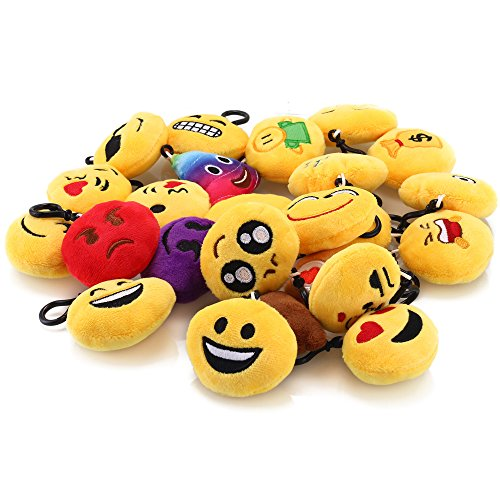 C&CAT Pack of 24 5cm/2 Inch Emoji Mini Plush Pillows, Keychain Decorations, Emoticon Pillow, Kids Party Supplies Favors.