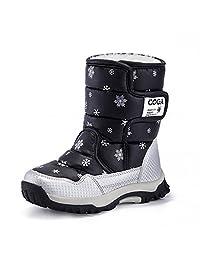 JACKSHIBO Girls Waterproof Winter Snow Boots Outdoor Fashion Warm Fur Boots with Velcro(Little Kid/Big Kid)