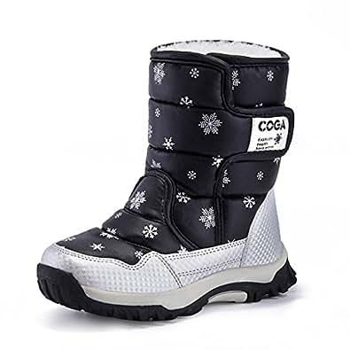 JACKSHIBO Girls Boys Outdoor Waterproof Winter Snow Boots,Black,10 M US Toddler/16.5 cm/27