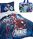 Jay Franco Boys 3pc Avengers Twin Size Blue Comforter (64'' x 86'') + One SHAM + One Insulated Lunch Box! (Sheet Set NOT Included!)