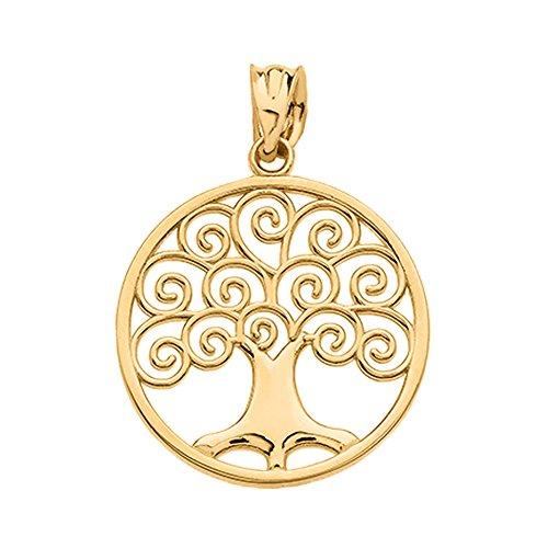Polished 10k Gold Circle Tree of Life Openwork Charm - Circle Pendant Openwork