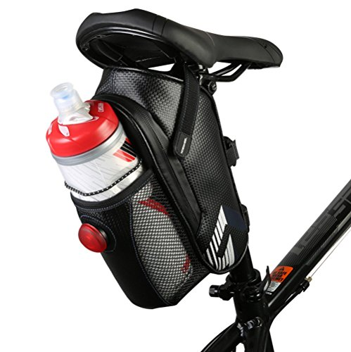 Allnice Waterproof Bike Bicycle Saddle Bag Seat Bag Mountain Road MTB Bike Bicycle Under Seat Bag Repair Tool Bag Bicycle Tail Light Riding Cycling Supplies (Dark Blue) (Black 1)