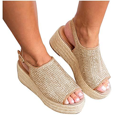 Athlefit Women's Espadrille Wedge Sandals Braided Jute Ankle Buckle Platform Sandals Size 7.5 Beige