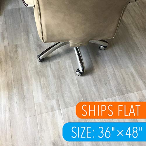 "Polycarbonate Office Chair Mat for Hardwood Floor 36""x48"" Floor Mat for Office Chair(Rolling Chairs)-Desk Mat&Office Mat for Hardwood Floor-Sturdy&Durable, Immediately Flat When Taken Out of Box"
