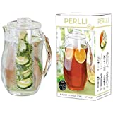 Perlli Tea and Fruit Infusion Pitcher With Ice Core Rod - 2.9 Quart Water Pitcher Infuser