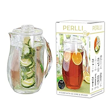 Perlli Tea and Fruit Infusion Pitcher With Ice Core Rod - 2.9 Quart Water Infuser