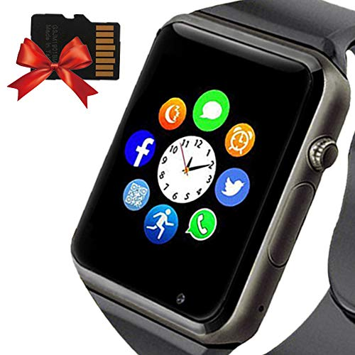 YONSON Smart Watch for Bluetooth SmartWatch Compatible Android iOS Phones with Camera SIM Card Slot Pedometer Phone Call/Message Sync Music Player Wrist Watch for Men Wome,Black